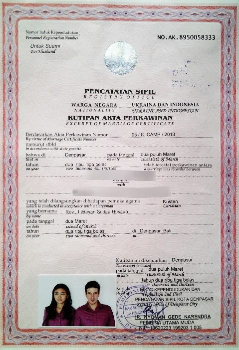 How to get married legally in bali official certificate religious certificate yadclub Image collections