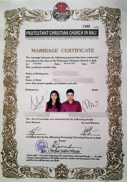 How to get married legally in bali official certificate religious certificate yadclub Choice Image